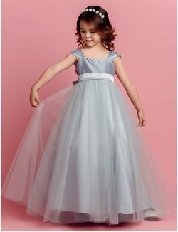 Ball Gown Long Floor Length Flower Girl Dress Taffeta Tulle Square With Bow Sash Ribbon
