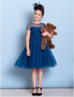 Short Knee Length Tulle Junior Bridesmaid Dress A Line Jewel With Criss Cross Ruching