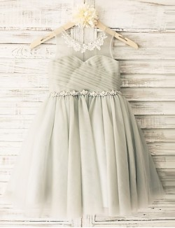 Princess Short Knee Length Flower Girl Dress Lace Satin Tulle Sleeveless Scoop With
