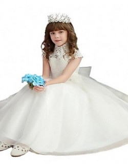 Ball Gown Long Floor Length Flower Girl Dress Lace Tulle Short Sleeve High Neck With Bow Lace