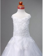 A Line Ball Gown Princess Court Train Flower Girl Dress Satin Tulle Sleeveless Sweetheart Straps With Appliques
