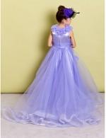 A Line Sweep Brush Train Flower Girl Dress Organza Sleeveless Jewel With Flower Ruching