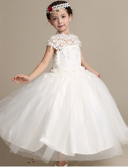Ball Gown Ankle Length Flower Girl Dress Lace Satin Tulle Short Sleeve High Neck With