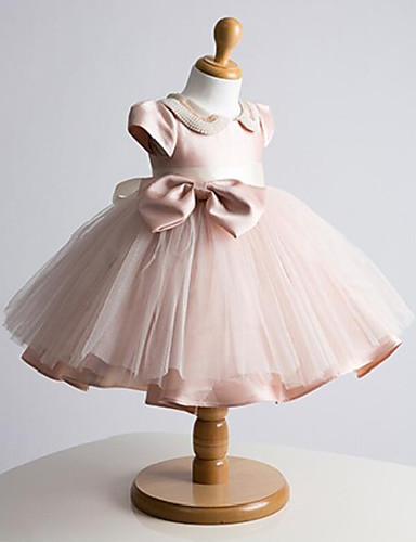 Ball Gown Short Mini Flower Girl Dress Tulle Short Sleeve Jewel With Bow Pearl Detailing
