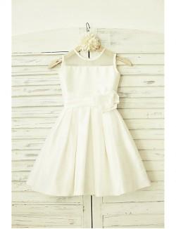 A Line Short Knee Length Flower Girl Dress Taffeta Sleeveless Jewel With