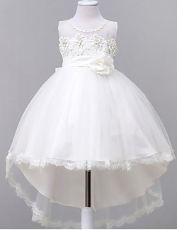 Ball Gown Asymmetrical Flower Girl Dress Satin Tulle Polyester Sleeveless Jewel With Bow Flower