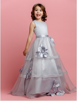A Line Long Floor Length Flower Girl Dress Organza Satin Sleeveless Jewel With Buttons Flower Sash Ribbon