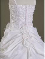 A Line Ball Gown Princess Court Train Flower Girl Dress Organza Satin Sleeveless Spaghetti Straps WithAppliques