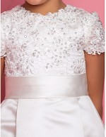 A Line Ankle Length Flower Girl Dress Satin Short Sleeve Jewel With Beading Draping Lace Sash Ribbon