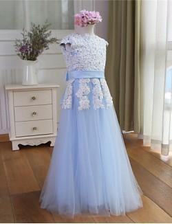 A Line Long Floor Length Flower Girl Dress Tulle Short Sleeve Jewel With
