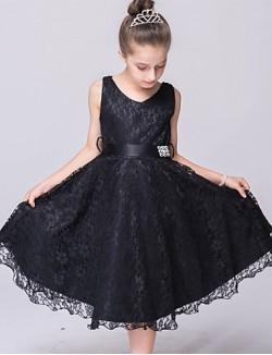 A Line Short Knee Length Flower Girl Dress Lace Tulle Sleeveless V Neck With