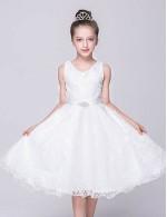 2017 A Line Short Knee Length Flower Girl Dress Lace Tulle Sleeveless V Neck With