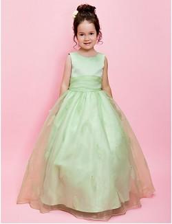A Line Ball Gown Long Floor Length Flower Girl Dress Organza Satin Sleeveless Jewel With Beading Sash Ribbon