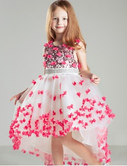 Ball Gown Court Train Flower Girl Dress Satin Sleeveless Jewel With