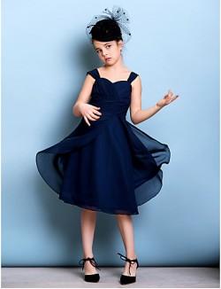 Short Knee Length Chiffon Junior Bridesmaid Dress A Line Straps With Sash Ribbon Criss Cross Ruching