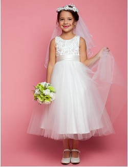 A Line Tea Length Flower Girl Dress Satin Tulle Sleeveless Jewel With Appliques Beading Bow Ruching