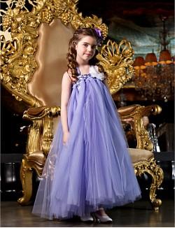 A Line Princess Long Floor Length Flower Girl Dress Tulle Sleeveless Straps With Beading Flower