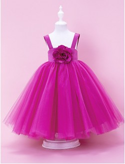A Line Ball Gown Princess Long Floor Length Flower Girl Dress Satin Tulle Sleeveless Square Straps WithDraping