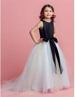 Ball Gown Sweep Brush Train Flower Girl Dress Satin Tulle Sleeveless Jewel With Bow Sash Ribbon