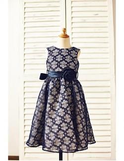 A Line Tea Length Flower Girl Dress Lace Sleeveless Jewel With