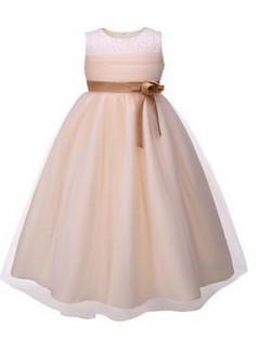 Ball Gown Short Knee Length Flower Girl Dress Organza Sleeveless Jewel With Beading Flower Sash Ribbon