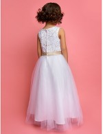 A Line Princess Ankle Length Flower Girl Dress Satin Tulle Sleeveless Jewel With Lace Pearl Detailing Sequins