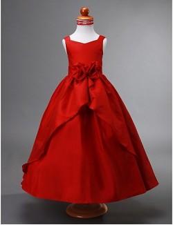 Ball Gown Ankle Length Flower Girl Dress Taffeta Sleeveless V Neck With Draping Flower Split Front
