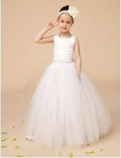 Ball Gown Long Floor Length Flower Girl Dress Tulle Sleeveless Square With