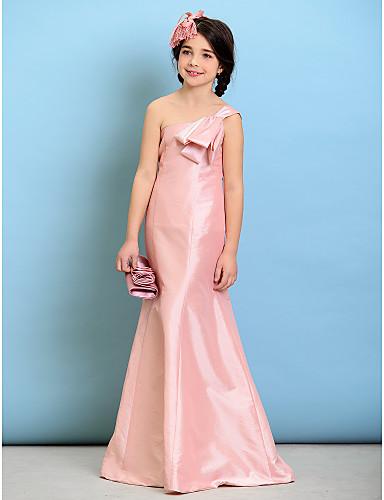 Long Floor Length Taffeta Junior Bridesmaid Dress A Line Sexy One Shoulder With Bow
