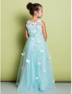 A Line Long Floor Length Flower Girl Dress Lace Sleeveless V Neck With Bow Lace Criss Cross