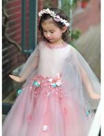 Ball Gown Long Floor Length Flower Girl Dress Tulle Charmeuse 3 4 Length Sleeve Jewel With Flower Lace