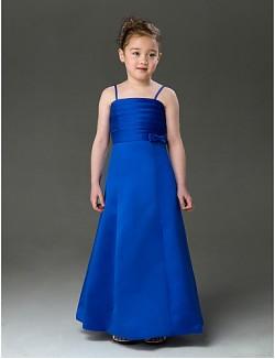 A Line Princess Long Floor Length Flower Girl Dress Satin Sleeveless Spaghetti Straps With Bow Ruching