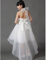 A Line Asymmetrical Flower Girl Dress Cotton Organza Sleeveless Halter With
