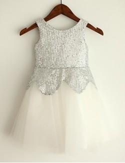 Princess Short Knee Length Flower Girl Dress Tulle Sequined Sleeveless Jewel With