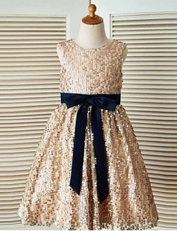 A Line Tea Length Flower Girl Dress Sequined Sleeveless Jewel With Sash Ribbon