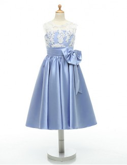Ball Gown Tea Length Flower Girl Dress Lace Taffeta Sleeveless Jewel With Appliques Bow Lace