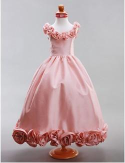 A Line Princess Long Floor Length Flower Girl Dress Taffeta Sleeveless Scoop With Draping Flower