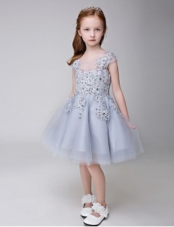 A Line Short Knee Length Flower Girl Dress Tulle Sleeveless Jewel With Appliques Beading Sequins