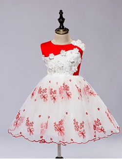 A Line Short Knee Length Flower Girl Dress Satin Tulle Sleeveless Jewel With Embroidery Pattern Print Sash Ribbon