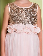 A Line Sweep Brush Train Flower Girl Dress Tulle Sequined Sleeveless Scoop With Flower Sequins