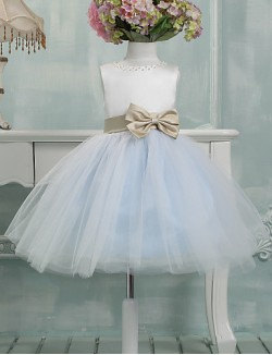 Ball Gown Short Knee Length Flower Girl Dress Tulle Sleeveless Jewel With Bow