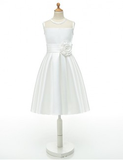 Ball Gown Short Knee Length Flower Girl Dress Taffeta Sleeveless Jewel With Flower Sash Ribbon