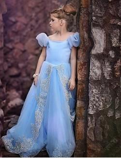 Fashion Blue Short Sleeve Flower Girl Dresses Pageant Dresses Halloween Dress Vestidos