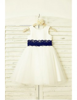 A Line Short Knee Length Flower Girl Dress Lace Satin Tulle Sleeveless Scoop With