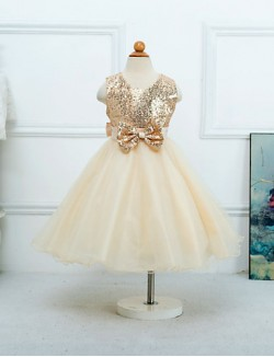 Princess Tea Length Flower Girl Dress Satin Tulle Sleeveless Jewel With
