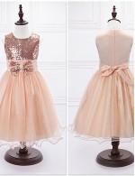 Ball Gown Tea Length Flower Girl Dress Organza Satin Sleeveless Jewel With Bow Sequins