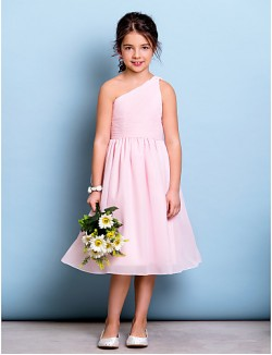 Short Knee Length Chiffon Junior Bridesmaid Dress A Line Sexy One Shoulder With Draping Side Draping Ruching