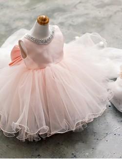 Ball Gown Short Mini Flower Girl Dress Tulle Sleeveless Jewel With Beading Bow