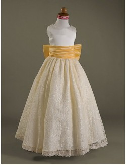 A Line Princess Long Floor Length Flower Girl Dress Lace Satin Sleeveless Scoop WithBow Draping Lace Sash