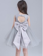 2017 Ball Gown Short Knee Length Flower Girl Dress Lace Organza Sleeveless Jewel With Bow Lace